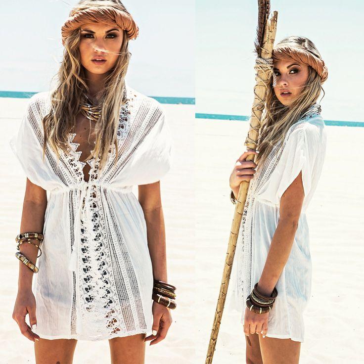 Women Retro Kaftan Seaside Bikini Swimwear Cover Up Hollow Beach Gowns Dress Beach Clothing