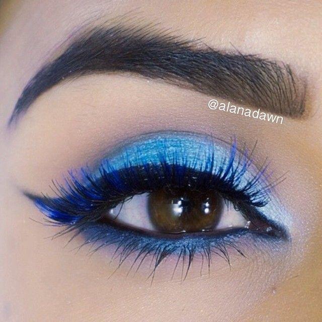 Blue eye shadow, blue shimmery eyeliner, blue mascara