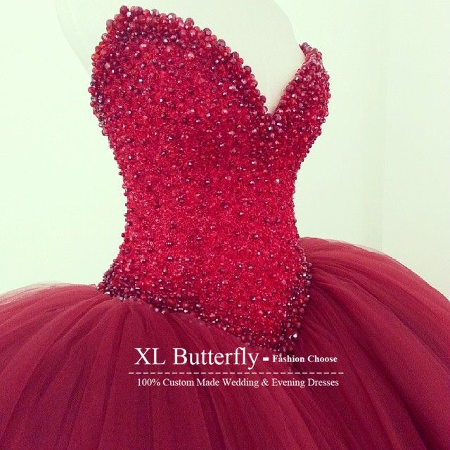 Find More Wedding Dresses Information about Vestidos de novia Crystal Red Wedding Dresses Sweetheart Beaded Tulle Puffy Ball Gown Wedding Gowns Bride Dresses ,High Quality gown picture,China dresse Suppliers, Cheap gowns formal dresses from xlbutterfly on Aliexpress.com
