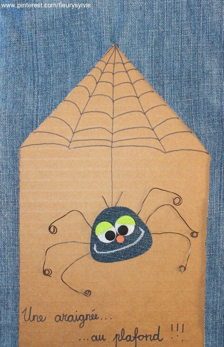 Une araignée au plafond !! #jeans #recycle https://pinterest.com/fleurysylvie/mes-creas-la-collec/ et www.toutpetitrien.ch