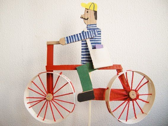 Cyclist - made from an old camembert box, cardboard, wool and wire