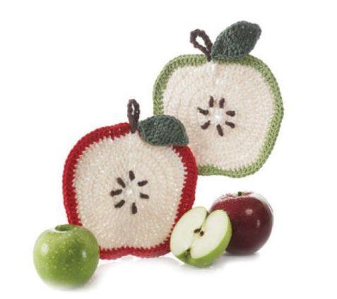 Apfel Topflappen gehäkelt - schoenstricken.de
