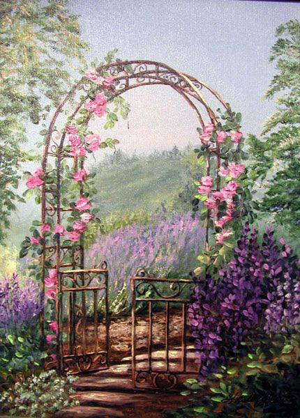 Painting: Garden Gate, Florals & Through the Garden Gate Series © lavendar, roses, bush lilacs Paintings by Shirley Reade