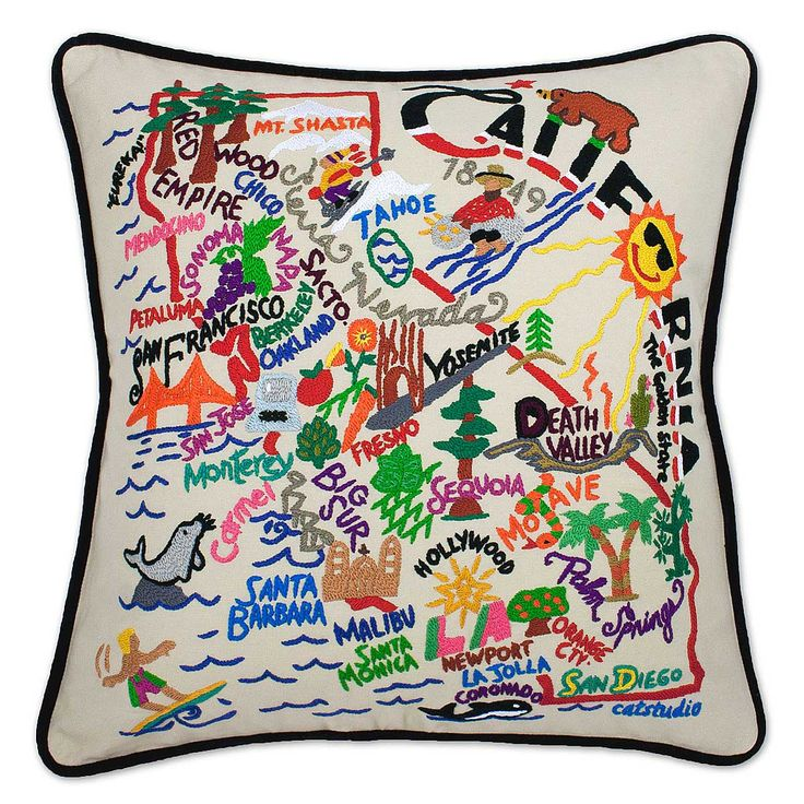 Hand embroidered state pillows york ohio and hands