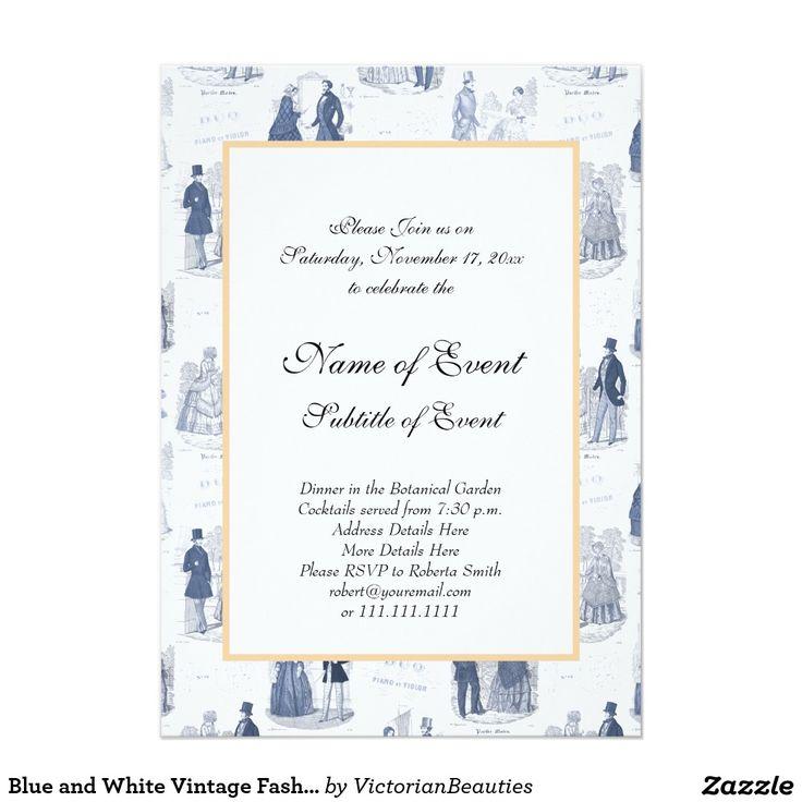 71 best unique invitations images on pinterest unique blue and white vintage fashion french toile 5x7 paper invitation card stopboris Images