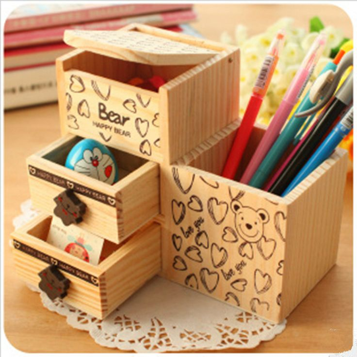 New Sale Novelty Storage Drawers Eco-friendly Wooden Pen Case Crafts Creative Gift For Girl u0026 Boy Lovely Home Accessories & 9 best Desk Organizers images on Pinterest | Organisations ...