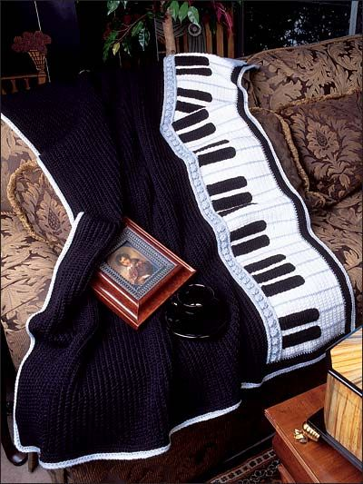 This crochet piano afghan design is 1 of 3 featured in Annie's Sensational Afghans download. Order here: http://www.anniescatalog.com/detail.html?&code=A885041