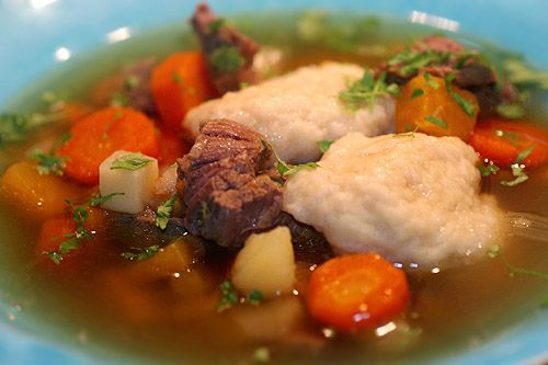Köttsoppa med klimp, a hearty meat soup with dumplings.