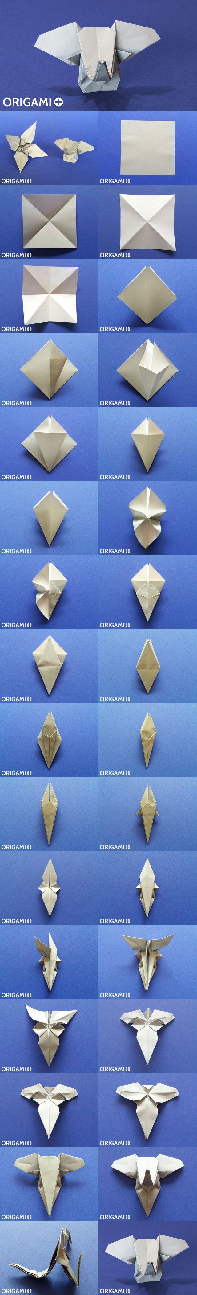 Origami Elephant head diagram + DIY video tutorial.