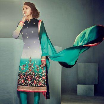 Fabulous Green Black Party Wear Georgette Salwar Kameez