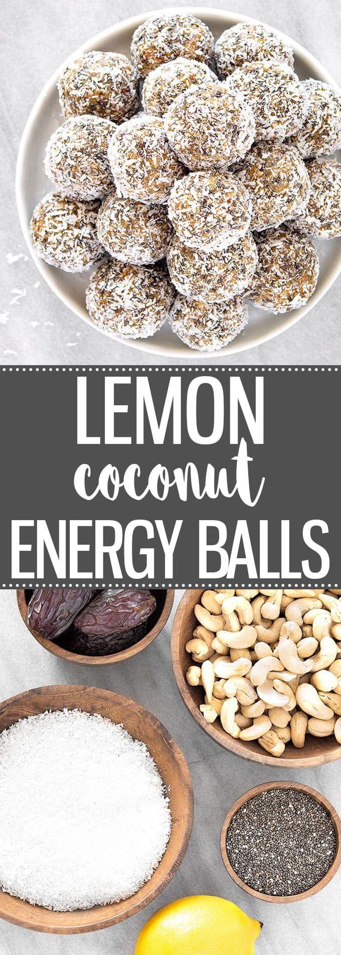 Healthy Lemon Coconut Energy Balls - No-bake snacks packed with cashew nuts, coconut, dates, chia seeds, lemon. Vegan, Paleo, Gluten Free