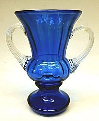 Cobalt Blue FENTON Art Glass TROPHY VASE with Clear Applied HANDLES RARE | eBay