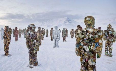 In March 2011, German artistHA Schult installed his army of life sized trash people on the ice in the Arctic at Longyearbyen, Svalbard, Norway