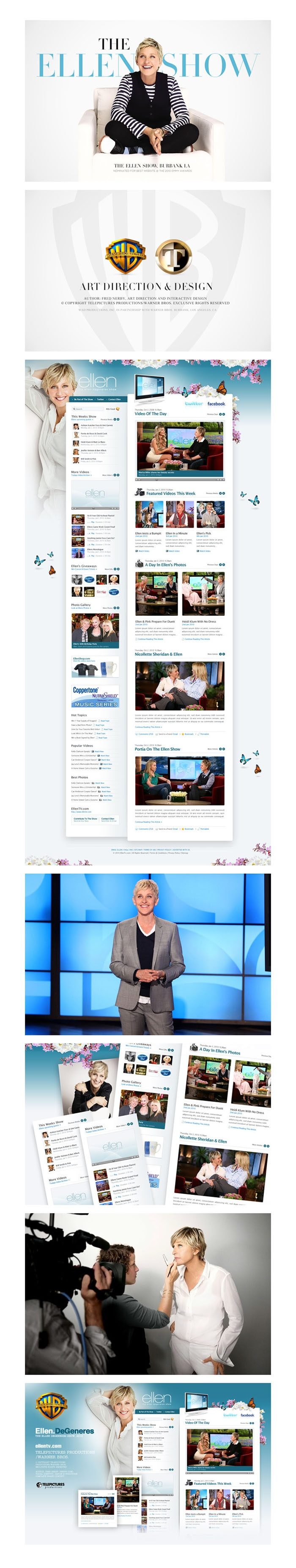 The Ellen Show Website, Warner Bros, Telepictures by Fred Nerby, via Behance *** Design of Ellen DeGeneres Show 2010 website. Copyright Warner Bros & Telepictures Productions. All rights reserved. Author Fred Nerby, Art Direction & Design