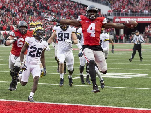 Ohio State Buckeyes running back Curtis Samuel (4) scores winning TD in 2nd OT.  By the way ttun was #3, not #4.