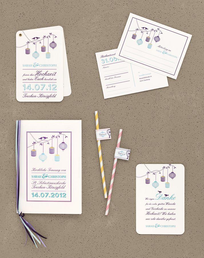 Laternen - Papeterie, Hochzeitspapeterie, Karten, Einladung, Kirchenheft, Danksagung, Save-the-Date, Menü, Programmheft, Hochzeitszeremonie