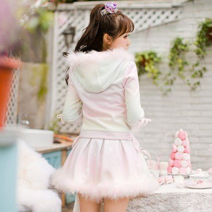 [Sweet Candy Fashion Line] Pink Winter Pastel Fluffy Woolen Skirt HFSC036