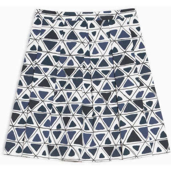 MAX&Co. A-line gabardine skirt (£55) ❤ liked on Polyvore featuring skirts, navy blue pattern, flare skirt, navy pleated skirt, white knee length skirt, navy blue skirts and navy blue pleated skirt