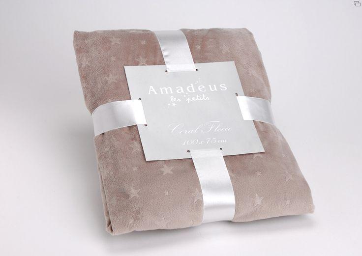 Plaid Amadeus étoiles taupe 100 x  75 sur lmladeco.com