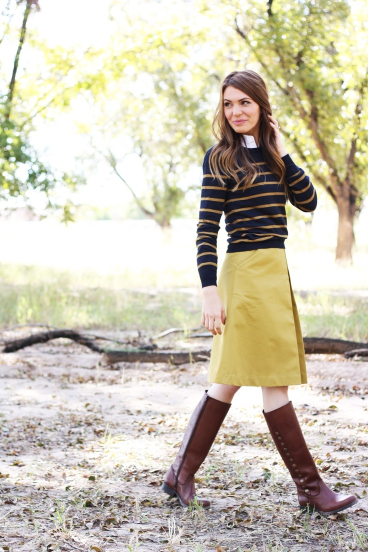 pleated skirt and stripe jumper