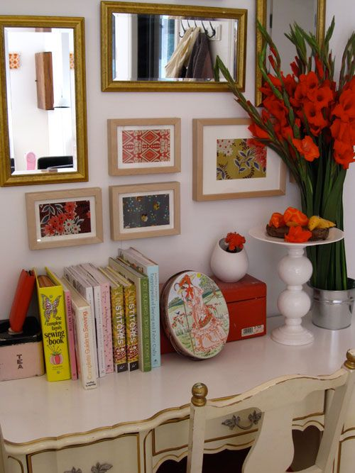 love the small framed prints & mirrors