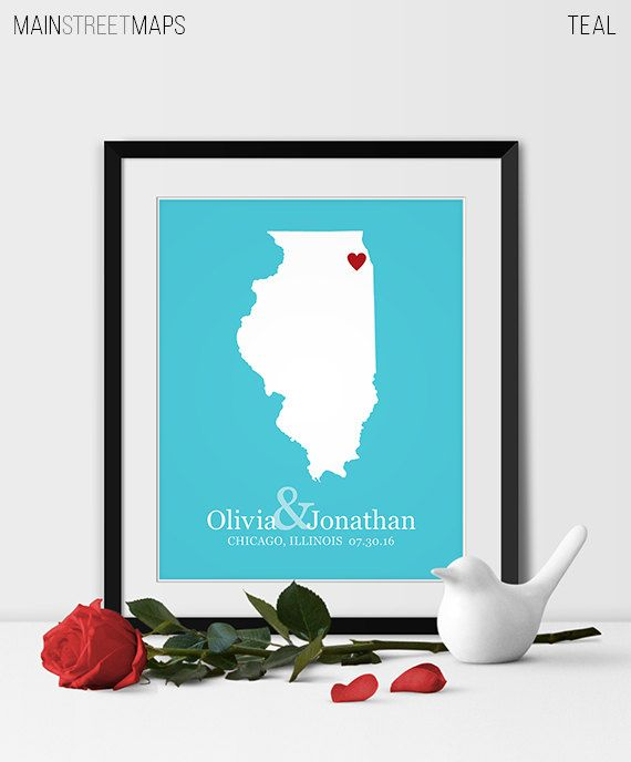 Illinois State Map Art Chicago Wedding Gift for by MainStreetMaps