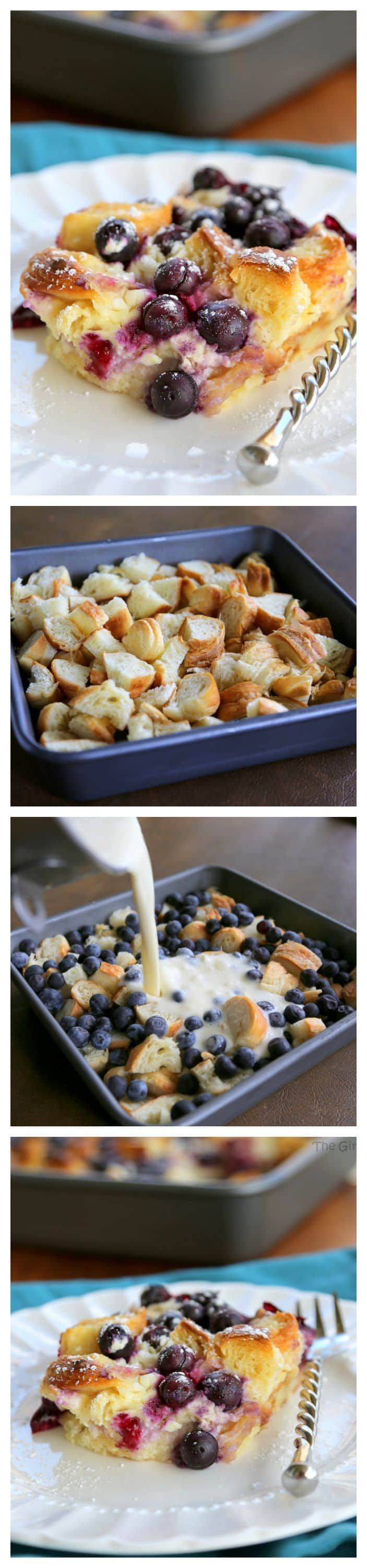 Blueberry Croissant Puff - a delicious overnight breakfast dish that everyone will love. the-girl-who-ate-everything.com