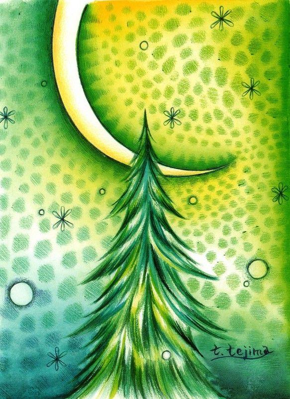 ハンドメイドクリスマス2014使用画材は水彩絵の具とボールペンです。クリスマスの静かな緑かがやく月夜をイメージしています。緑をテーマにグラデーションにして...|ハンドメイド、手作り、手仕事品の通販・販売・購入ならCreema。