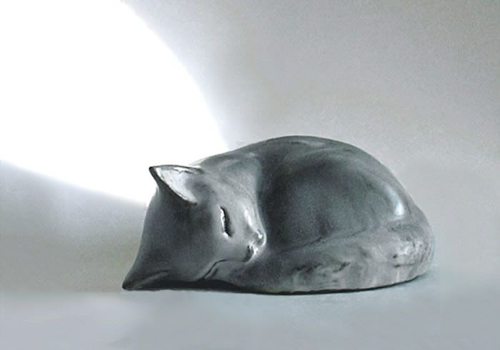 Stoneware Sleeping Kitten Sculpture by Christine Andersen Tupper