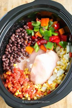 My family totally loved this recipe!! Slow Cooker Chicken Chili is so easy to prepare! Tender shredded chicken, loads of veggies & beans in a quick flavorful broth!