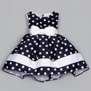 @Overstock - A silk band with a bow detail brings an adorable look to this Dorissa dress. A navy blue color is the background for darling white polka dots to complete this cut dress.http://www.overstock.com/Clothing-Shoes/Dorissa-Infant-Girls-Dotty-Polka-Dot-Dress/6337943/product.html?CID=214117 $29.99