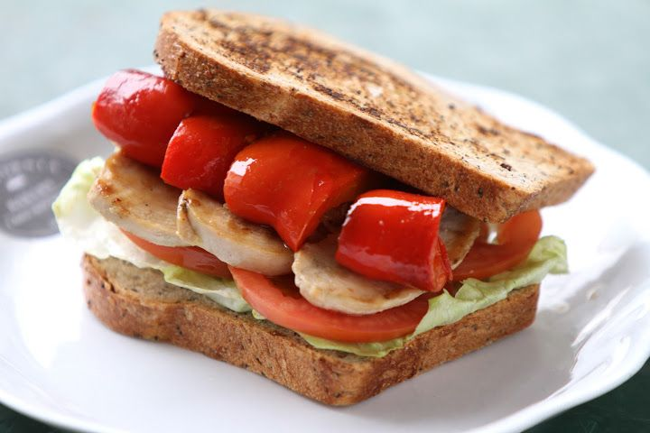 Roasted peppers and chicken sandwich by California Bakery
