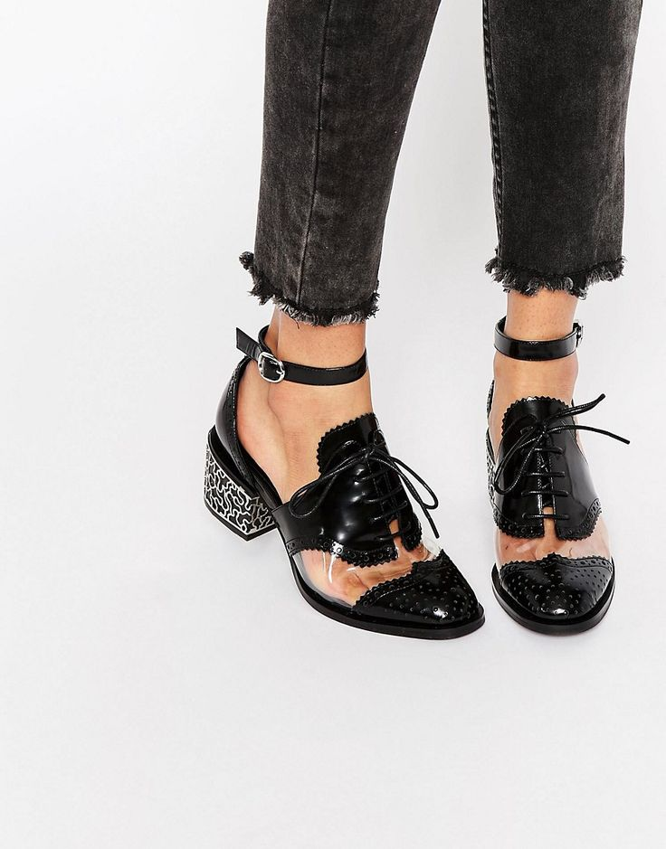 Image 1 ofJeffrey Campbell Thoreau Transparent Cut Out Leather Mid Heeled Shoes