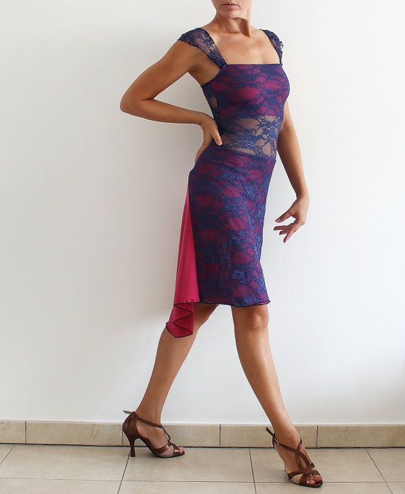 Lace Argentine Tango Dress, blue and fuchsia for Social Dance Party, Salsa, Milonga