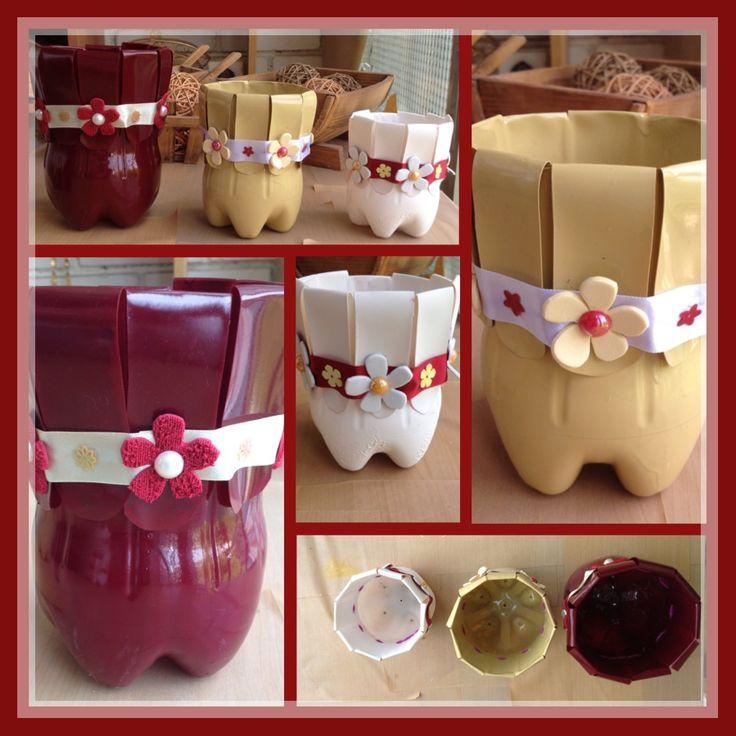 Macetas macetero o tiesto de botellas de plastico for Casa de plastico para jardin