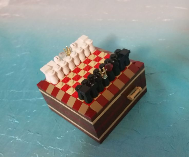 Miniature Lego Chess Set with storage drawers