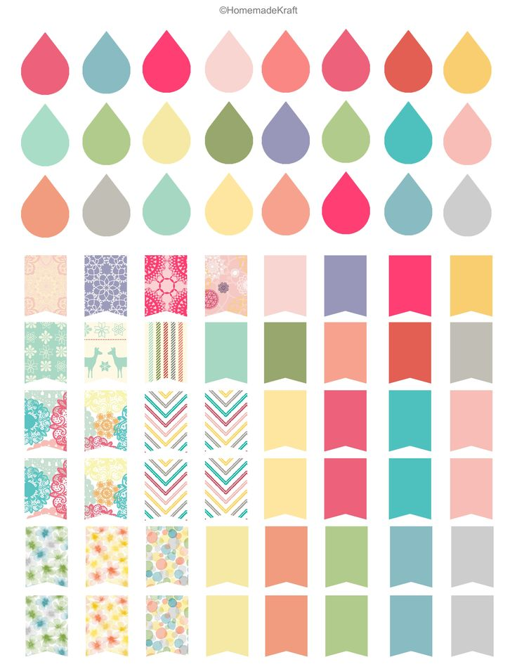 Filofax Stickers-free printable erin condren dew drops flags