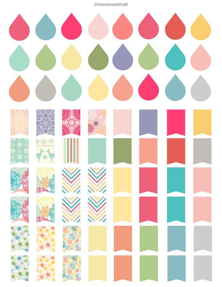 Filofax Stickers-free printable erin condren dew drops flags