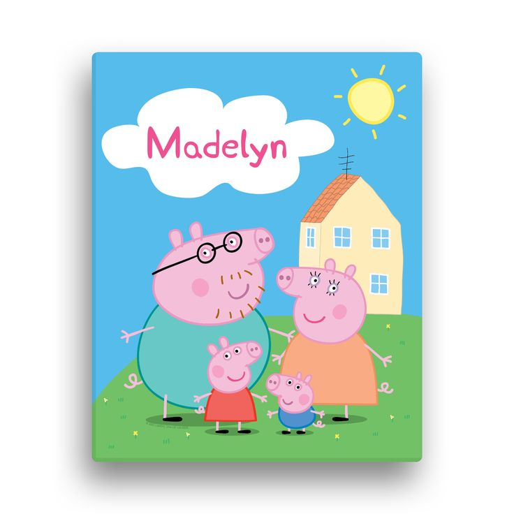 Peppa Pig Family 11x14 Canvas Wall Art | Tv's Toy Box