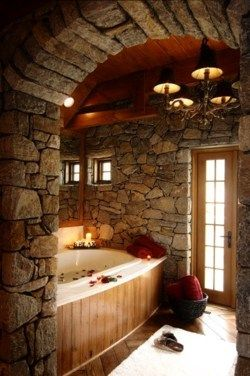Beautiful stone work in bathroom.