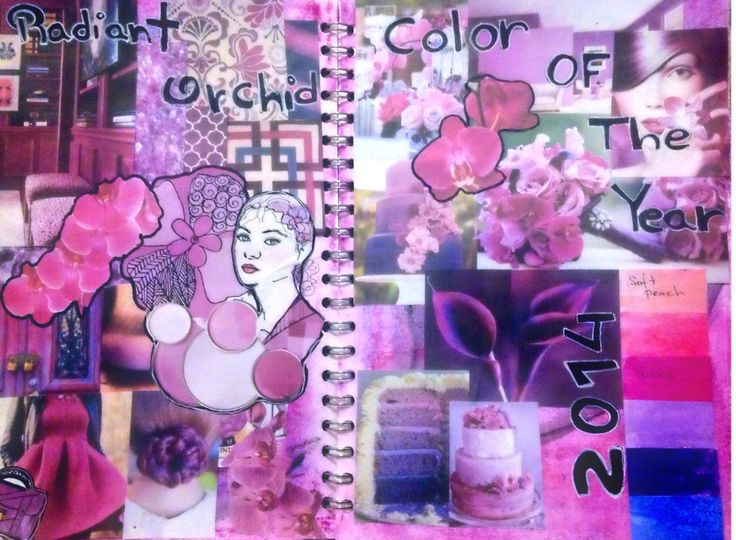 Jornal collage about radiant orchid colour of the year 2014 ( colour study)