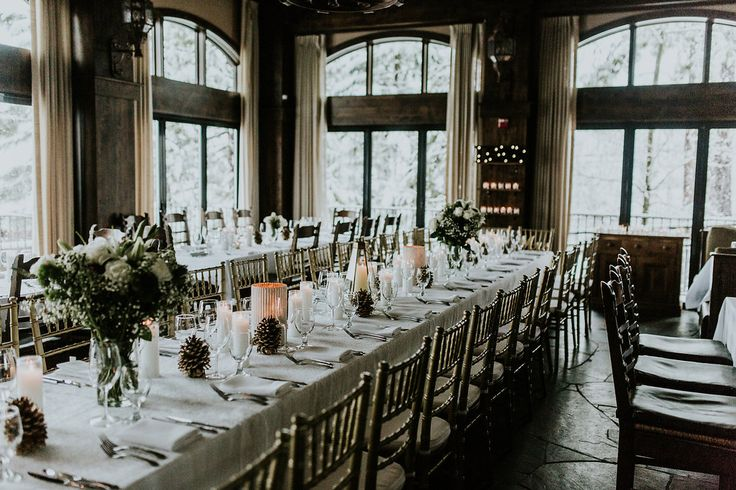 Table Décor - Gold Pinecones - Lake Tahoe Winter Wedding at The West Shore Cafe
