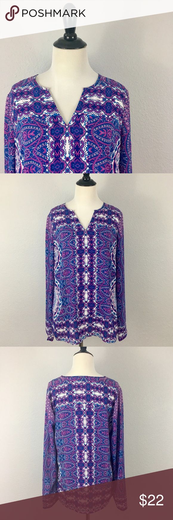 {The Limited} Purple Paisley Tunic Blouse Purple paisley print tunic blouse from The Limited. In excellent condition. Bundle and save! Fast shipping 📦 The Limited Tops Blouses