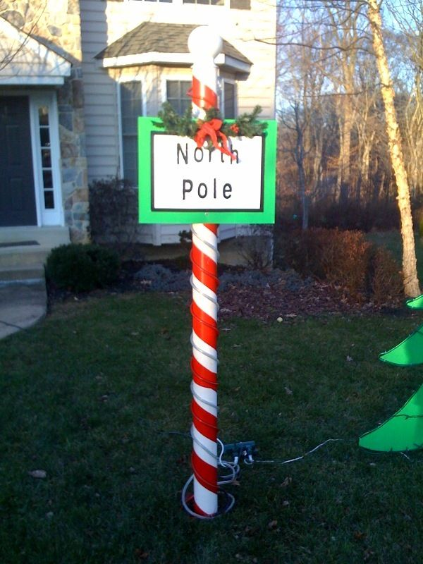 How to build a north pole for your outdoor Christmas decorations. It's over seven feet tall and was very inexpensive to make.