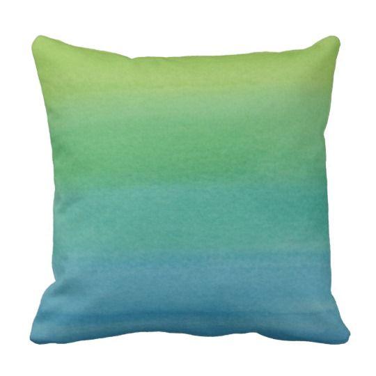 Ombre Watercolor Print Cushion Mermaid Colors