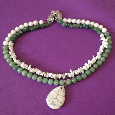 Green Aventurine, Snow Quartz, and Howlite crystal gemstone healing necklace (approx 46cm). www.divineaura.com.au and join our Facebook family @ www.facebook.com/divineaura123 *****SOLD OUT*****