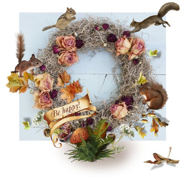 A Fall Wreath by canisartstudio on Polyvore featuring sztuka