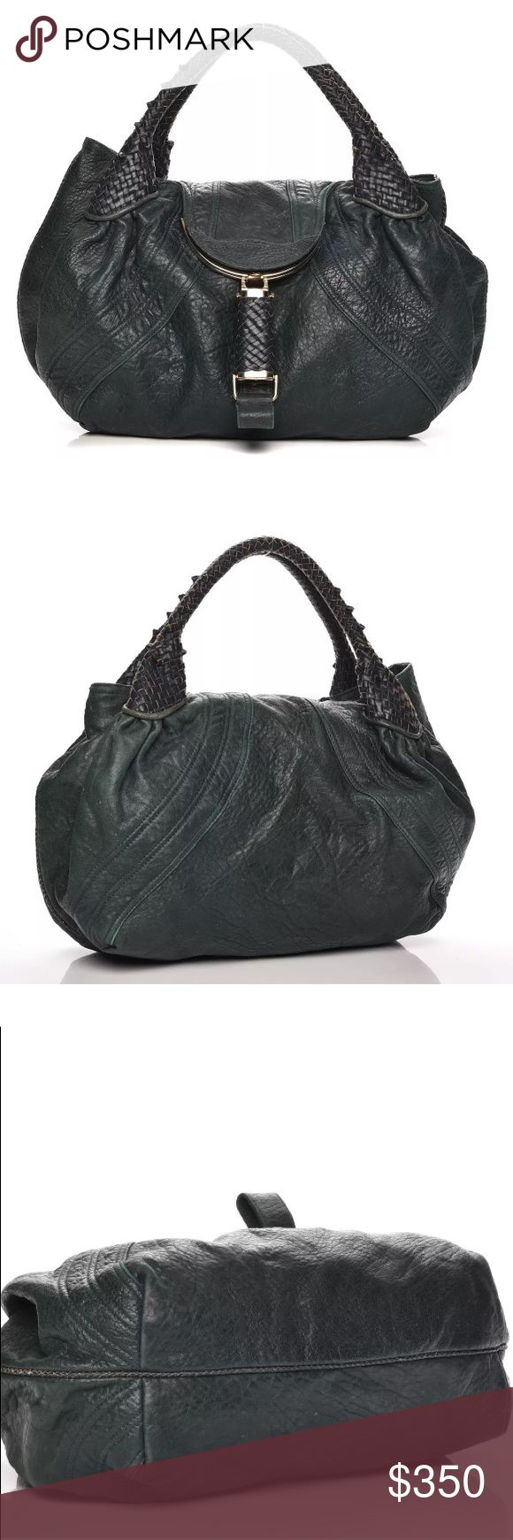 Authentic Fendi Spy Bag - Green Nappa Leather Pre owned and in good condition bag. Missing the bottom hardware seen in last photo. No major scuffs or damage exterior or interior. Great price too !! Fendi Bags Hobos