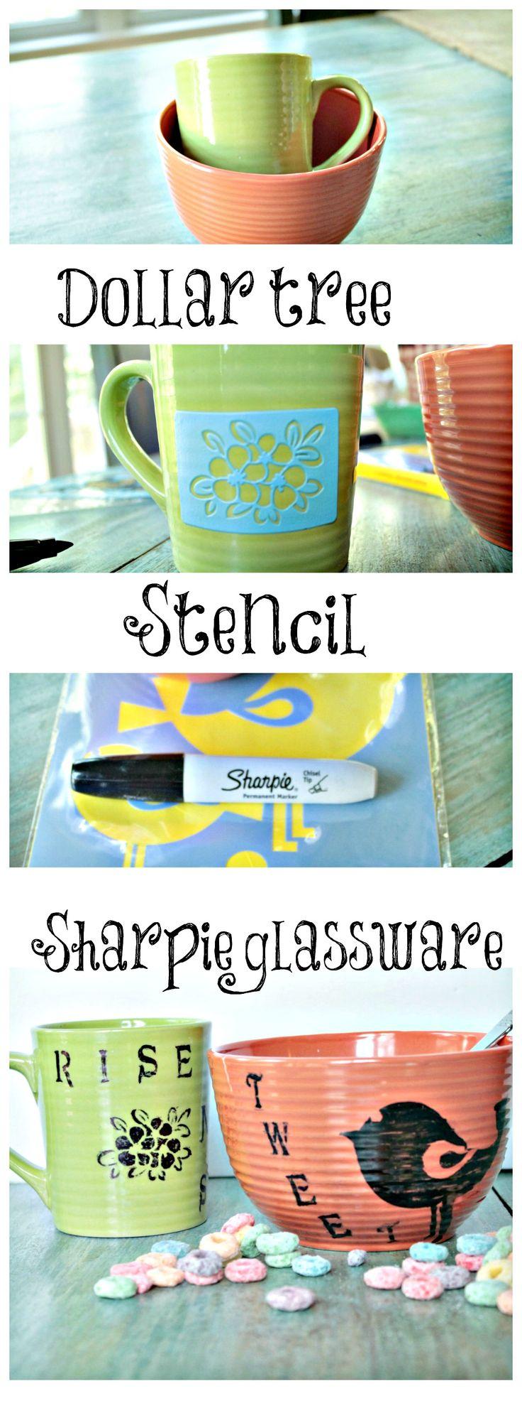 diy sharpie art work on glassware