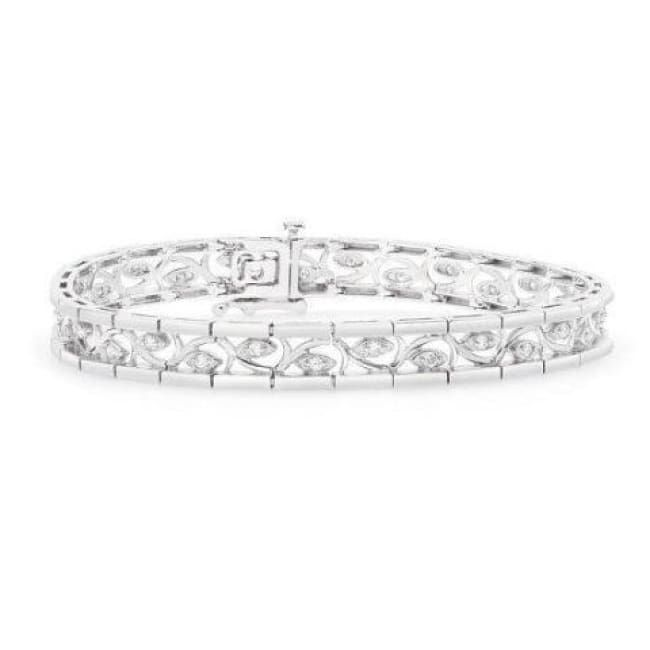 Luxinelle 1 2 Carat Diamond Bracelet With Curved Inlay Eye 14k White Gold Tennis Bracelet 7 25 Inches In 2020 White Gold Bracelet Sterling Silver Bracelets Jewelry Bracelets Silver